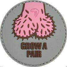 "Viper Tactical Morale Rubber Patch ""Grow A Pair""  Badge Velcro Airsoft Military"