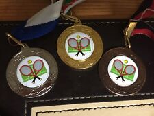 3 x TENNIS MEDALS (40mm) GOLD,SILVER & BRONZE - FREE ENGRAVING,CENTRES & RIBBONS