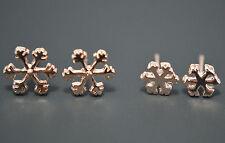 2 Pack Pair 14K/14ct Rose Gold Plated Snowflake Flower Stud Earrings Set Gift