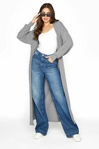 Long Tall Sally Women's  Grey Longline Cardigan Grey Size