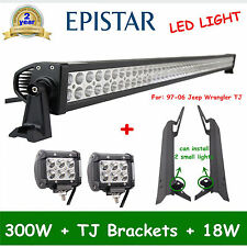 52inch 300W+2X 4'' 18W CREE LED Light+97-06 Jeep Wrangler TJ Bracket Offroad OFF