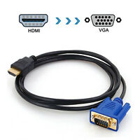 6FT HD 1080P High Speed Male HDMI to VGA Cable Connector Adapter For DVD HDTV PC