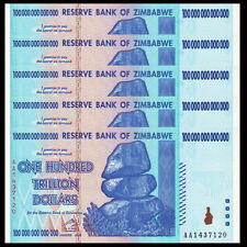 Lot 5 PCS, Zimbabwe 100 Trillion Dollars,AA 2008 Series, P-91, UNC, 1/20 Bundle