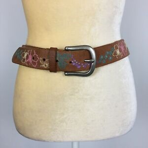 Fossil Genuine Leather Belt Brown with Multicolor Floral Embroidery Women's Sz M