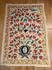 More details for vintage uzbek susani handmade silk on cotton embroidery / tapestry wall hanging