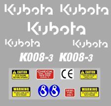 Decal Sticker Set Pour Kubota K008-3 Mini Digger Bagger Pelle K008