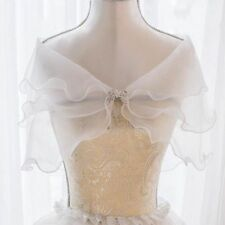 White Elegant Multi Layer Tulle Shawl Wedding Wrap Bridal Seersucker Short Coat
