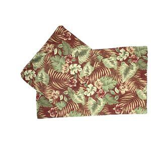 Pair Vintage King Shams Pillowcases Muslin Cotton Blend Red Tropical Palm Print
