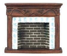 Dolls House 1:12 Scale Miniature Furniture Resin Walnut Brick Delft Fireplace