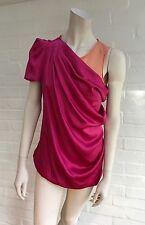 Viktor & Rolf Silk One Sleeve Top Blouse Fuchsia Orange Size I 40 UK 8 US 4