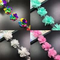 5Yard Flower Chiffon Leaves Trim Wedding Dress Bridal Lace Fabric Craft DIY