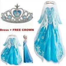 ELSA Girls Princess Dress Queen Cosplay Costume Grils Fancy Dress&Crown Elsa