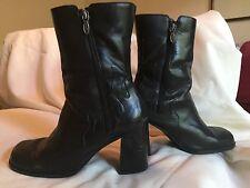 HARLEY DAVIDSON Women's Burn Boots #81727 Flames Zip Black Leather Size 7.5