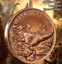 Velociraptor Dinosaur Round 1 oz .999 Copper Round Part of 8 Series