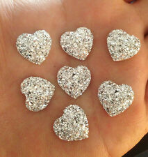 DIY NEW 20PCS silver Resin Heart flatback Scrapbooking for phone/wedding/craft