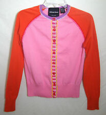 Michael Simon Pink Orange Sweater Cardigan Button Front Long Sleeve Girl Medium