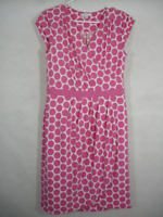 Polka Dot Dress Stretch Pink White Wrap V Neck Cap Sleeve Work Career Woman's M