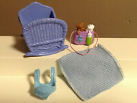LOVING FAMILY DOLLHOUSE BABY ACCESSORY LOT CRADLE BED CARRIER FISHER PRICE C