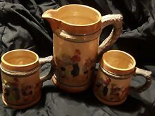 New listing Vintage Beer Stein Pitcher and 2 Mugs old Pub Scene* Made in Japan *
