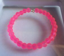 Neon Pink Coloured Frosted Glass Bead Memory Wire Bangle / Bracelet.