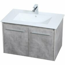 "Elegant Decor Rasina 30"" Single Porcelain Top Floating Bathroom Vanity in Gray"