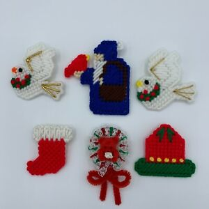 Christmas Pins Lot #3 - Bell Dove Stocking Santa Bear Plastic Canvas