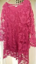 DAMART LADIES TUNIC /DRESS TOP SIZE 16/18 PINK LACE  SEPERATE  UNDER  TOP SLEEVE