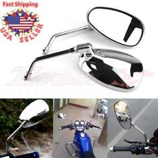 CHROME MOTORCYCLE REAR VIEW MIRRORS LONG STEM FOR HONDA SUZUKI KAWASAKI 10MM NEW