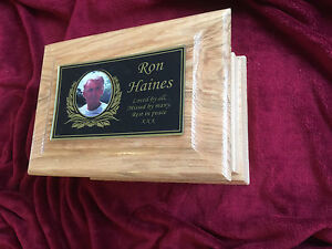Solid Oak Wood Personalised Photo Cremation Ashes Casket / Funeral / Adult / Urn
