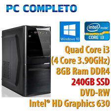 PC COMPUTER DESKTOP FISSO WINDOWS 10 INTEL QUAD CORE i3-7100 RAM 8GB SSD 240GB