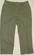 "Gloria Vanderbuilt Khaki Green Capri Lace Up Pants Size 10 Petite 33"" W X 22"" L"