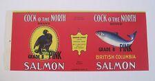 COCK o' the NORTH Salmon Label Anderson & Miskin Vancouver Canada