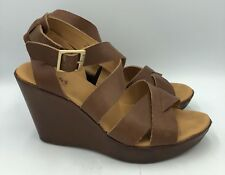 a0ca3b9a52c Korks By Kork Ease Strappy Ankle Strap Brown Leather Wedge Sandals Womens  Sz 10