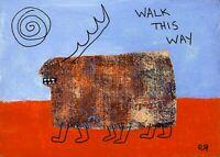 walk this way e9Art 5x7 Outsider Visionary Primitive Art Painting Brut Folk Naiv
