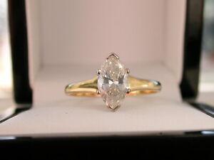 Diamond Engagement Ring. 1.04 carat MARQUISE-CUT DIAMOND. 18ct Gold. Lab Report