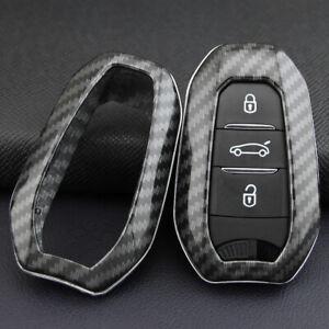FOR Peugeot/Citroen/DS Soft Shell Smart Key Case Carbon Fiber Protector Cover