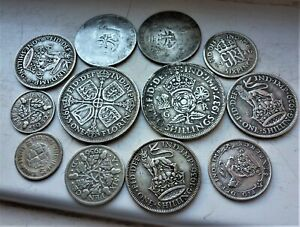 LOVELY LOT OF 12 x  BRITISH SILVER COINS  GEORGE V & VI PRE 1947