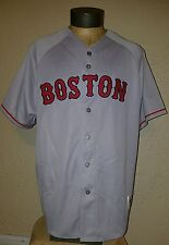 NEW Majestic MLB Boston Red Sox Gray Button Up Authentic Stitched Jersey Mens XL