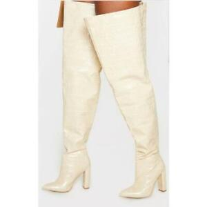 Sexy PU Leather Pointy Toe Over The Knee Knight Boots High Heel Party Lady Shoes