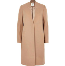 Ex River Island Camel Knit Collarless Coat Jacket Size 12 - 16
