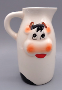 CUTE Vintage Hand Painted 3D Cow Pitcher/Creamer Jug Ceramic Country Farm Decor
