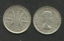 AUSTRALIA 1961 QUEEN ELIZABETH II SILVER THREEPENCE 3d COIN