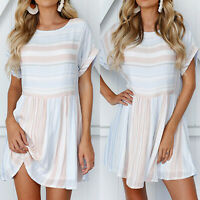 Women Striped Short Sleeve Mini Dress Ladies Summer Beach Holiday Swing Sundress