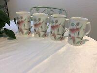 Mikasa Silk Flowers Cappuccino Coffee Mugs Set Of 4 Near Mint Condition
