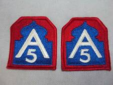 Pair of US 5th Army A5 Cloth Shoulder Sleeve Badges / Patches