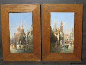 Egypt Cairo Mosque 1892 Karl Kaufman Orientalist Oil Muslim Interest Pair