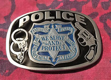POLICE BELT BUCKLE NEW WE SERVE AND PROTECT