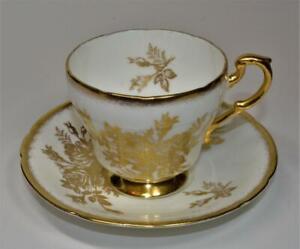 60s PARAGON Bone China Gold ANNIVERSARY ROSE Set Cup & Saucer #46