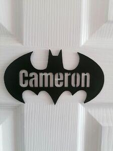 Personalised Batman Bedroom name Logo, plaque, superhero marvel