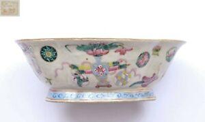 1900's Chinese Famille Rose Porcelain Lobe Shaped Bowl Medallion Planter Marked